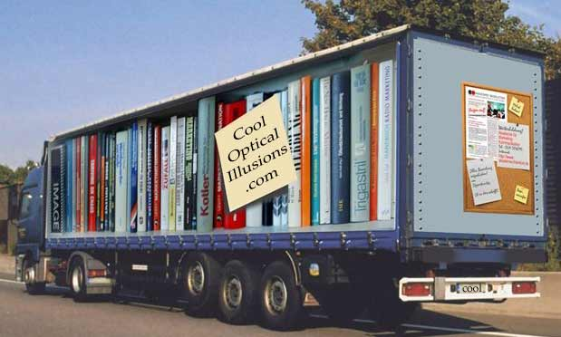illusion of books on a truck