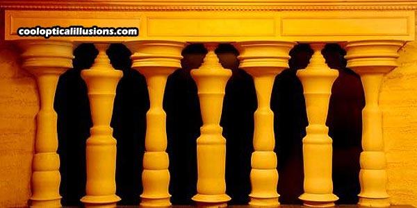 people columns orange illusion