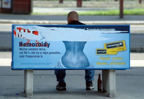 preparation h funny man on bench