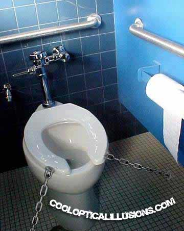 chained down toilet seat.