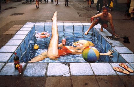 pool chalk drawing optical illusion