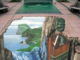 Bottle-Optical Illusion Chalk Drawing