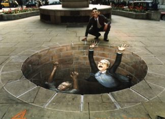 tony blair falling down hole chalk art