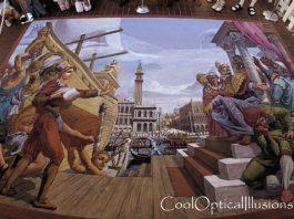 Ship at Dock- very cool 3D sidewalk art