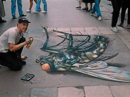 Dead Fly- Optical Illusion Chalk Drawing