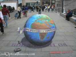 Standing on Top of the World- Optical Illusion Chalk Art