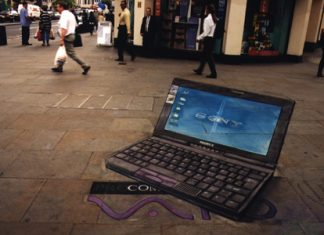 Sony Laptop- Optical Illusion Chalk Drawing