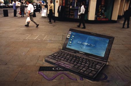 Sony Laptop- Optical Illusion Chalk Drawing