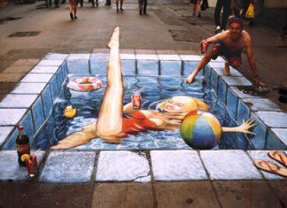 Pool-Optical Illusion Chalk Drawing