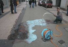 Hose and Water- Optical Illusion Chalk Art