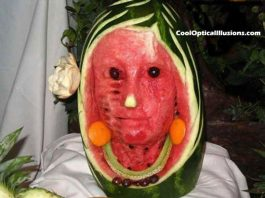 I this just a watermelon or a real face?